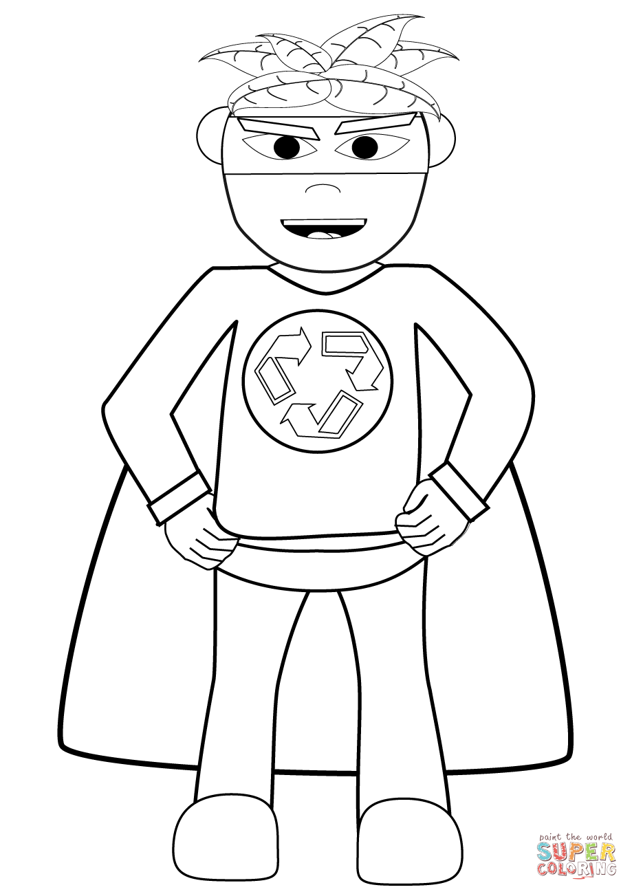 Free printable coloring pages recycling - Recycling Superhero Coloring Page Free Printable Coloring Pages