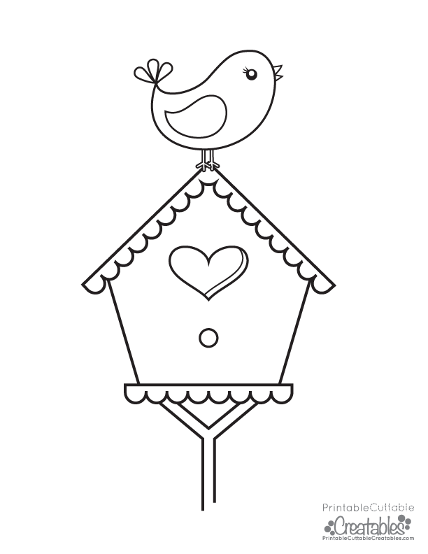 Bird House Coloring Page - Coloring Pages For All Ages