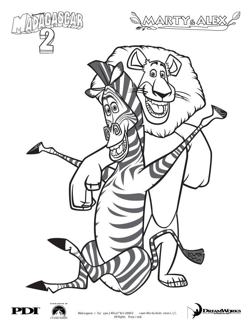 MADAGASCAR coloring pages - Madagascar 2 : Marty and Alex