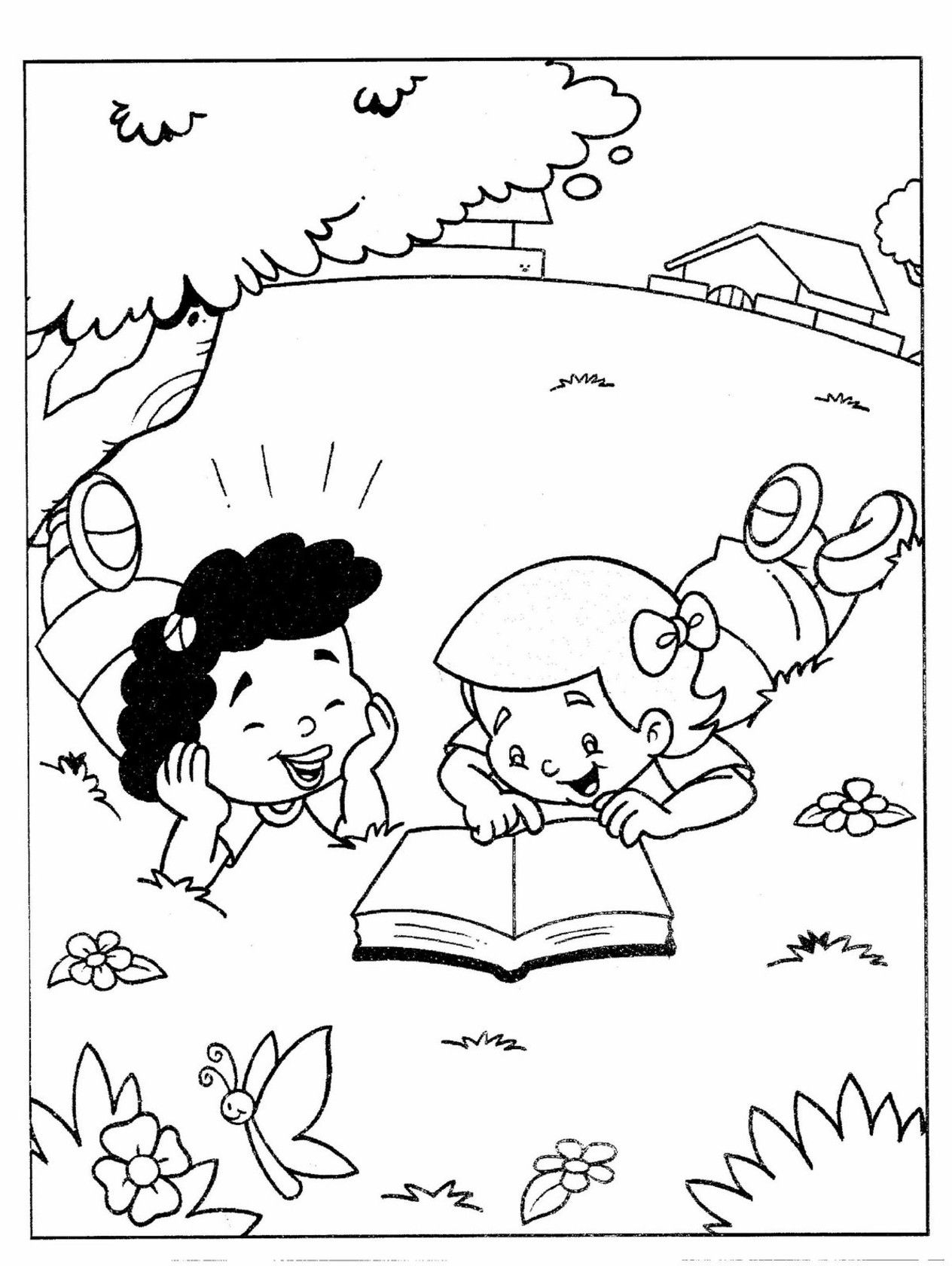 Free Nature Coloring Pages 2 Children Reading Book In The Garden