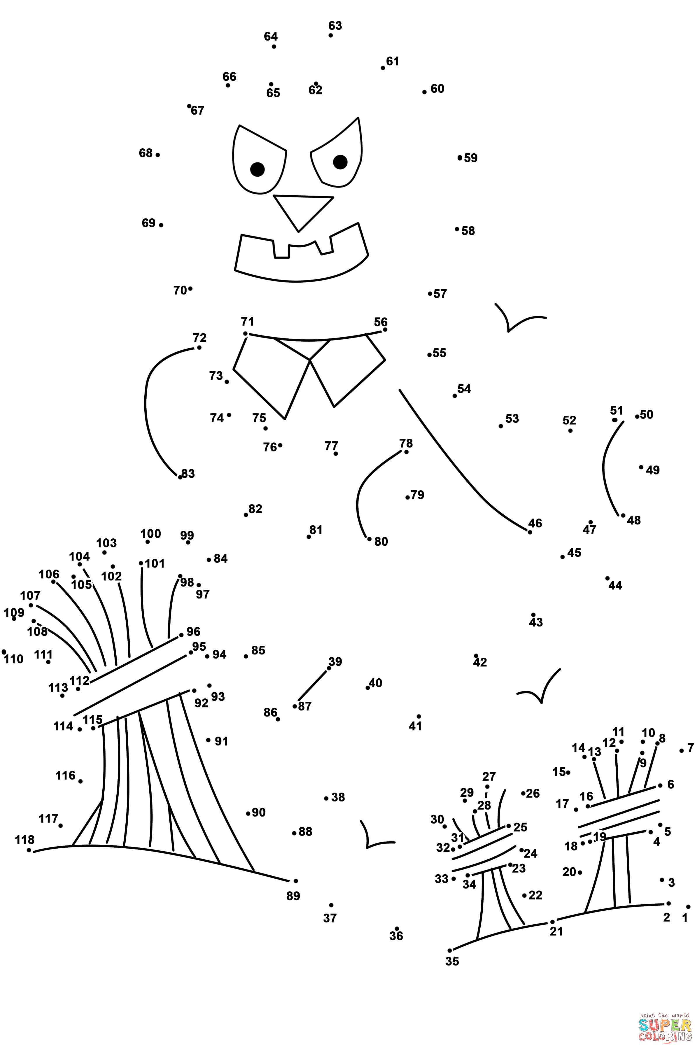 Scarecrow dot to dot from Halloween category. Select from 27298 printable  crafts of cartoons, … | Dots free, Free printable coloring pages, Printable coloring  pages