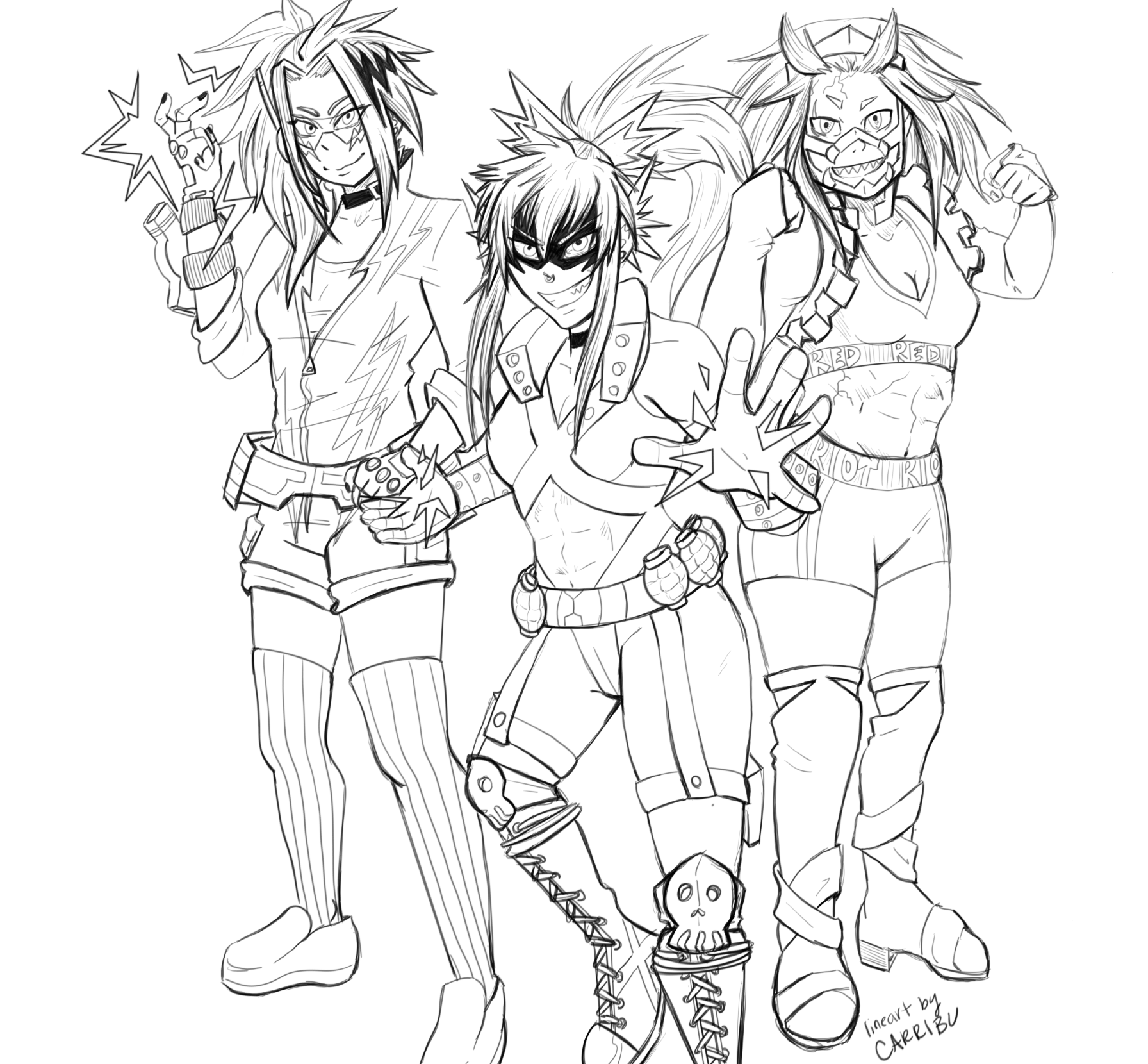 Bakusquad Genderbent Hero Costume Coloring Page by carribu on DeviantArt