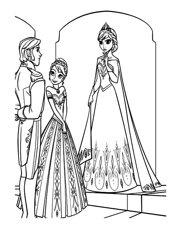 Princess Anna Introducing Prince Hans To Queen Elsa Coloring Pages :  Coloring Sun
