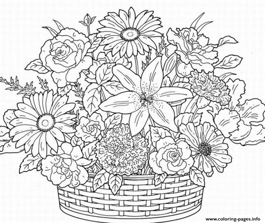 Printable Coloring Pages For Adults Flowers - Coloring Home