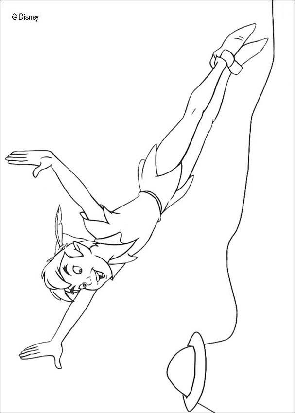 Peter Pan coloring pages - Peter Pan flying