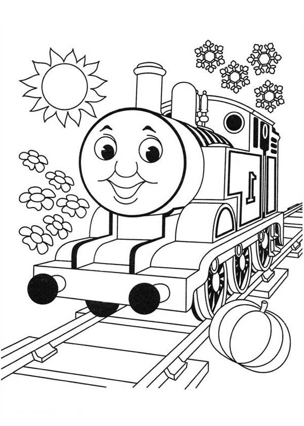 Thomas Is Very Happy Today In Thomas And Friends Coloring Page