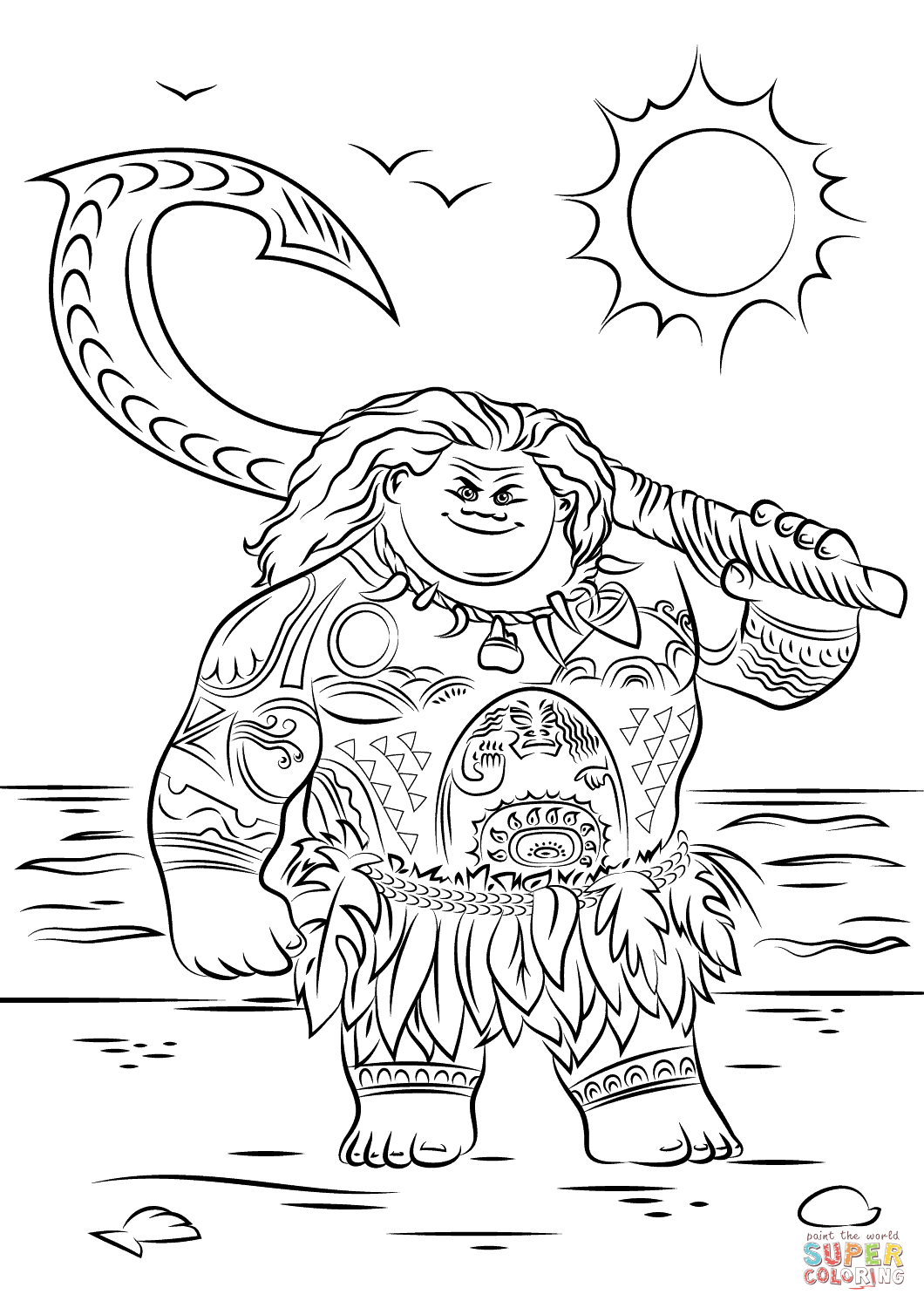 Maui from Moana coloring page | Free Printable Coloring Pages