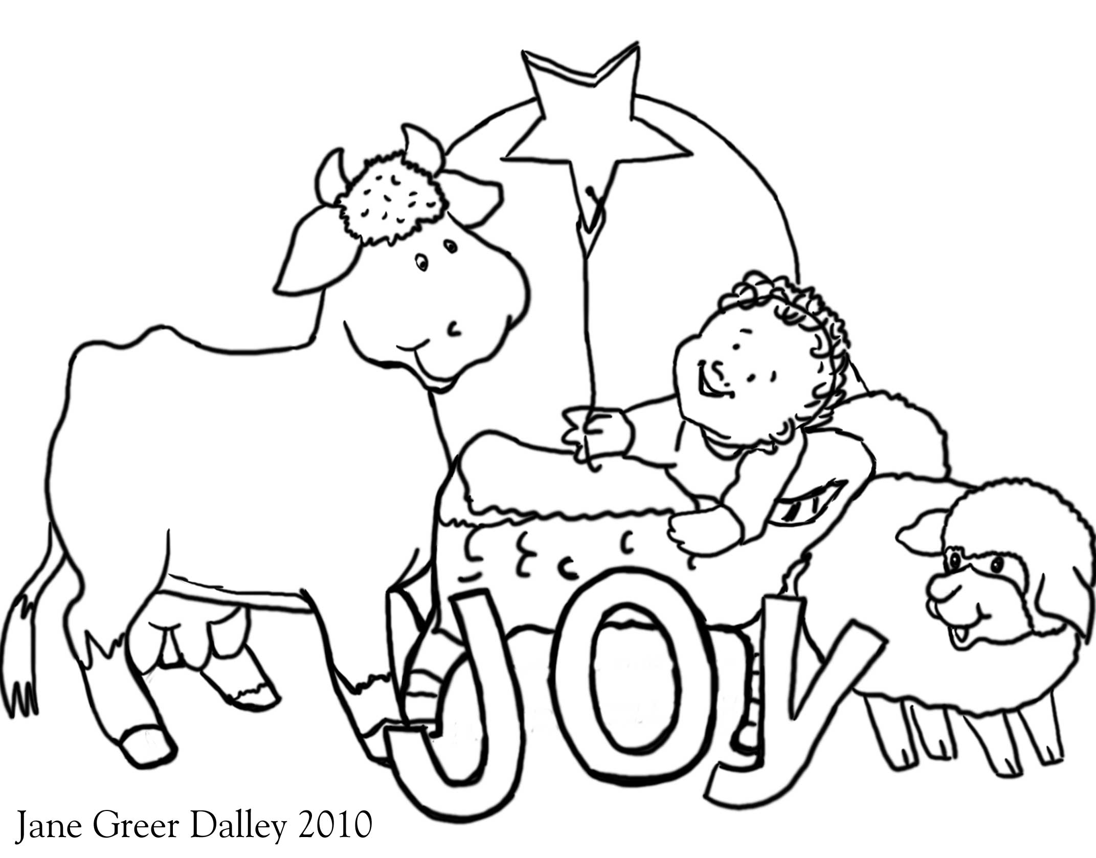 Manger Animals Coloring Pages  Coloring Home