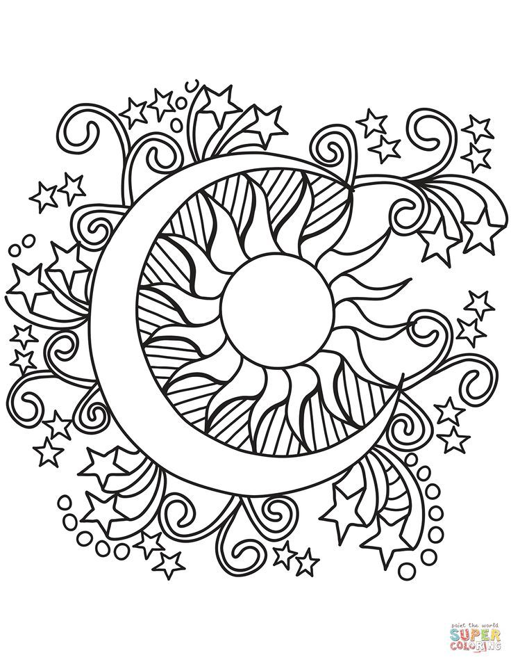 Pop Art Sun, Moon, and Stars coloring page | Free Printable ...