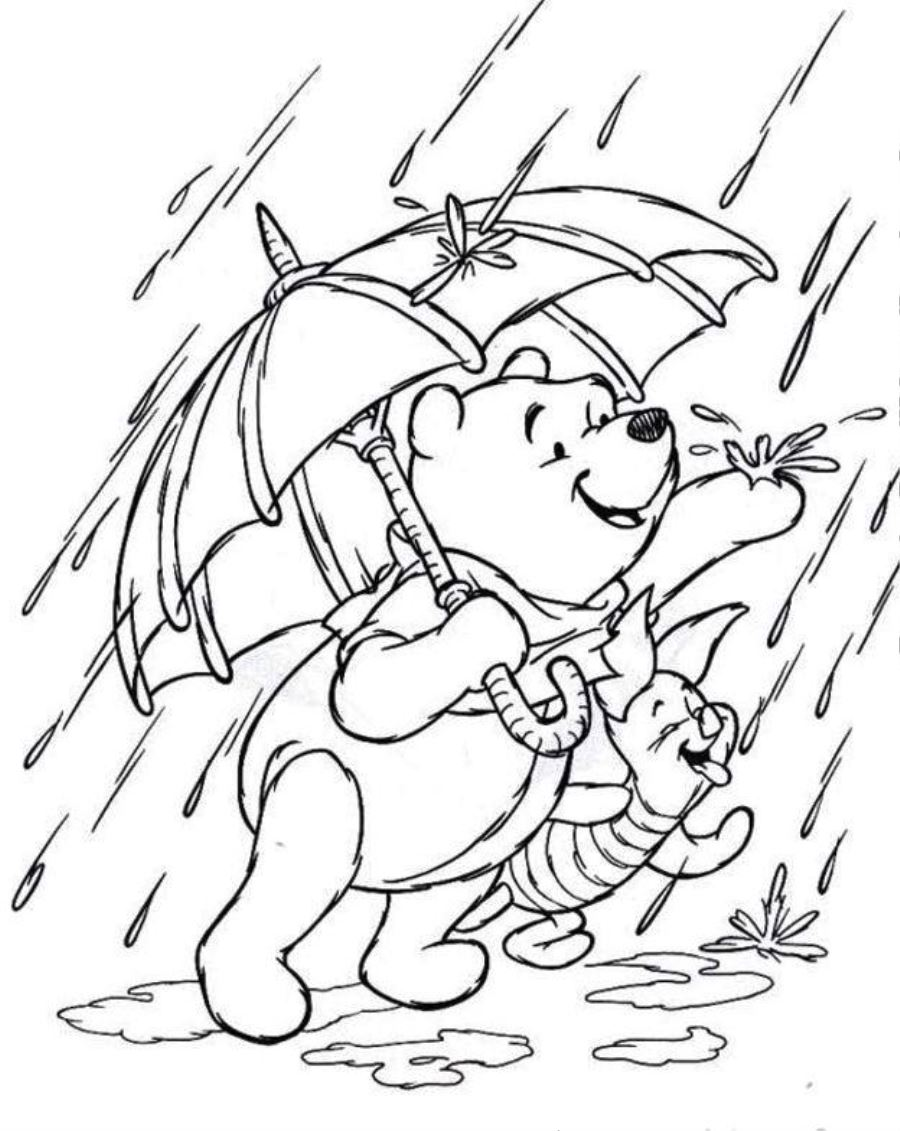 The pooh piglet coloring pages pooh and piglet loves rain coloring