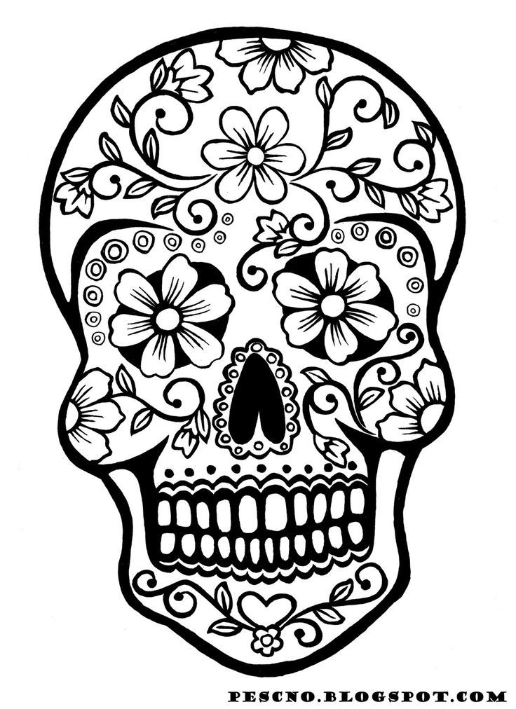 Sugar skull with roses coloring pages az coloring pages for Skulls and roses coloring pages