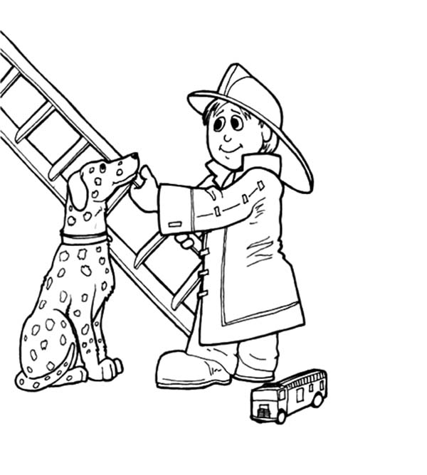 Sparky the Fire Dog Do Fire Drill Coloring Page
