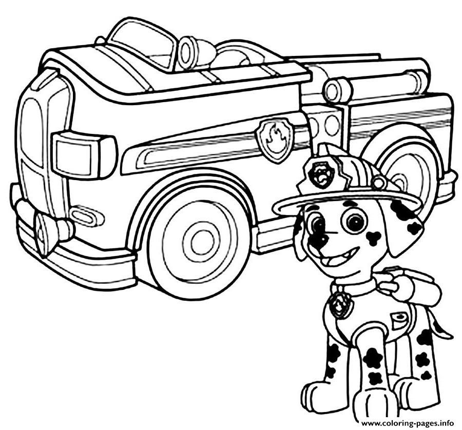 print paw patrol marshal firefighter truck coloring pages