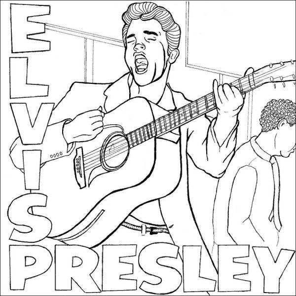 Elvis presley coloring pages coloring home for Elvis coloring pages