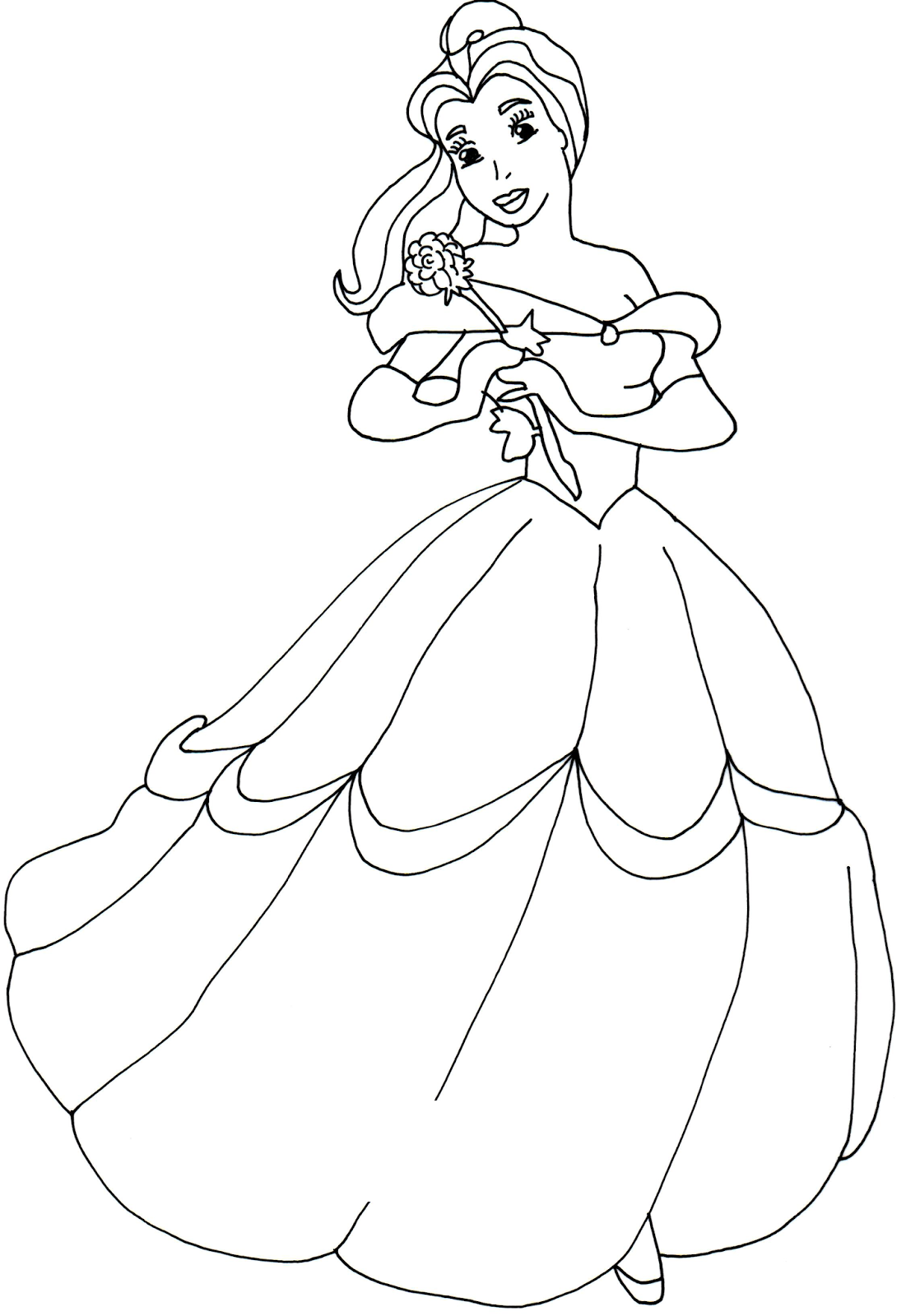 Princess Belle Coloring Page - Coloring Home