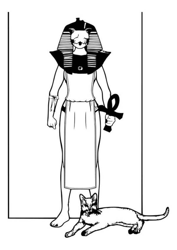 Ancient Egypt Goddess Bastet Coloring Page