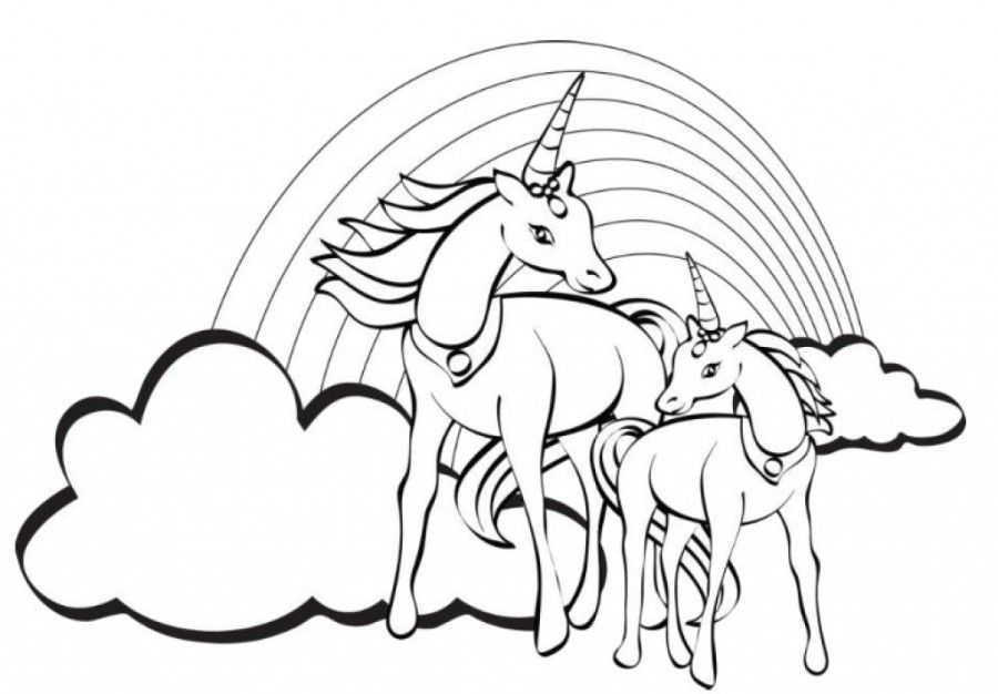 Printable 12 Unicorn Rainbow Coloring Pages 5971