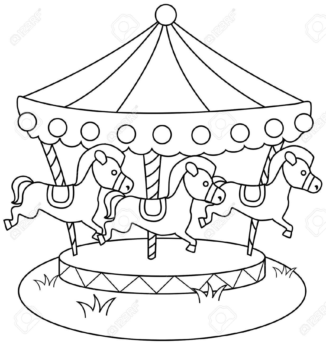 Carousel Coloring Pictures - Coloring Pages For Kids And For Adults ...