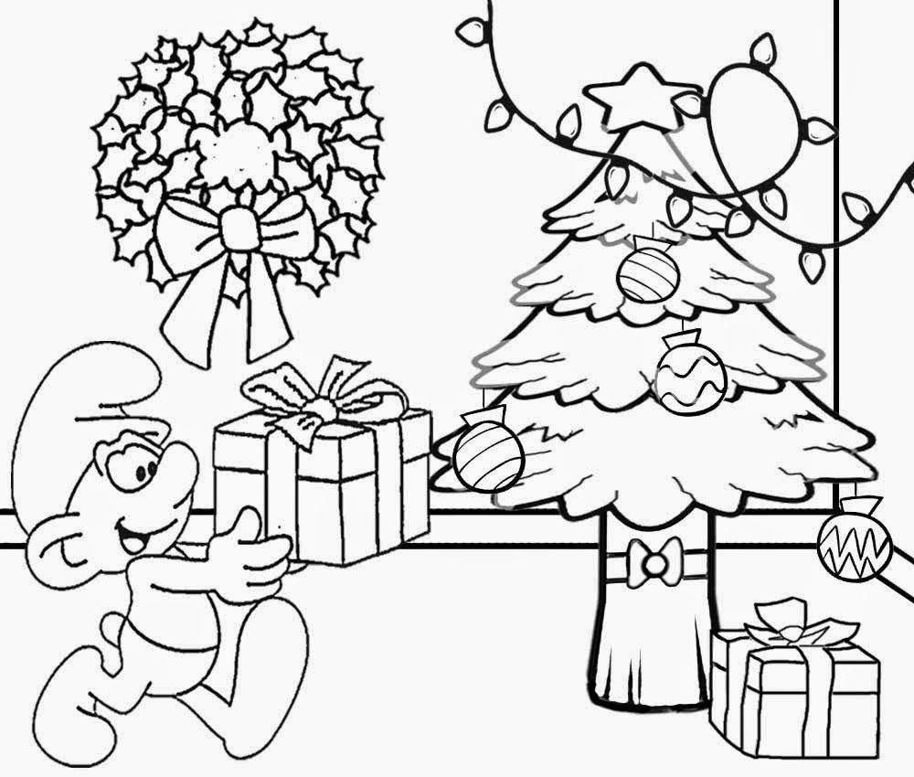 Smurf Christmas Coloring Pages