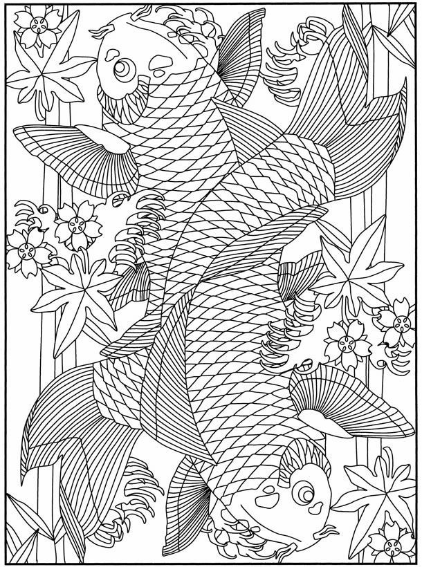 Japanese Koi Coloring Pages - Coloring Home