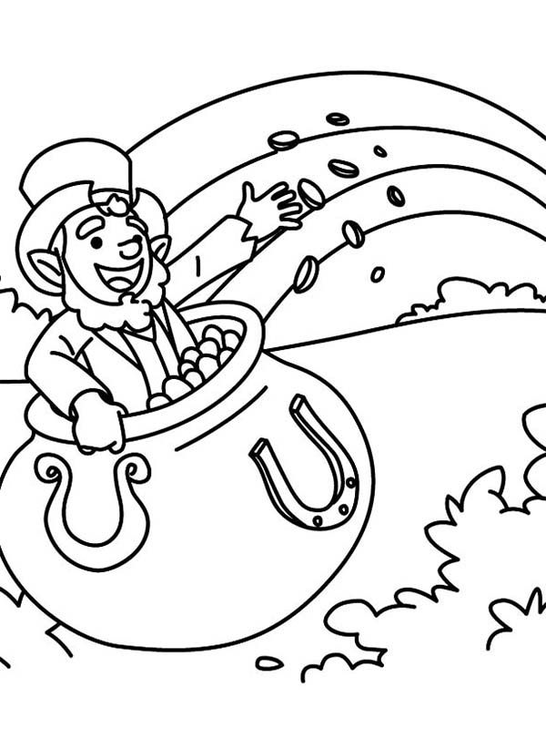Happy Leprechaun Singing a St Patricks Day Song Coloring Page ...