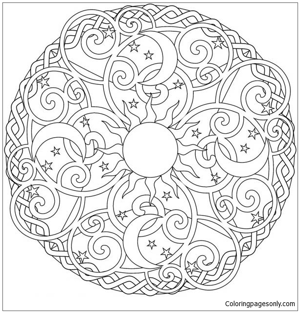 The Sun And The Moon Mandala Coloring Page - Free Coloring Pages ...