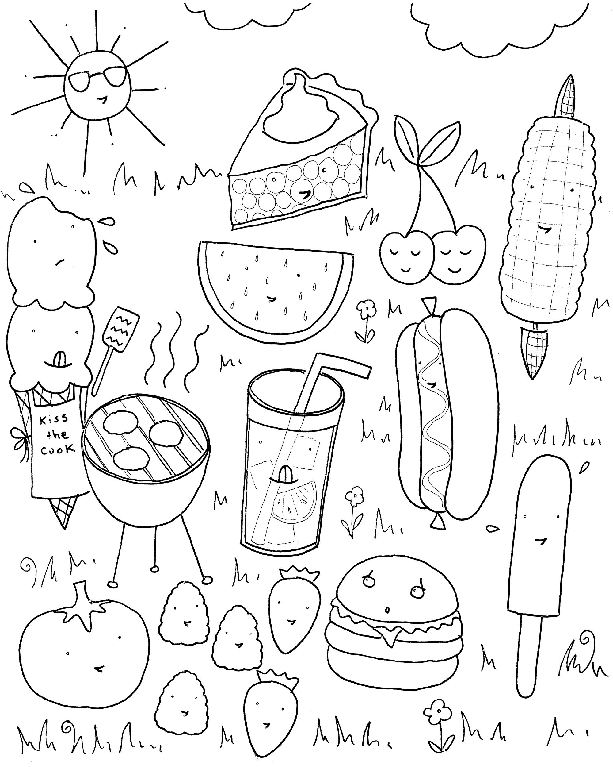 Picnic Food Coloring Page For Kids   All Coloring Pages Smoke