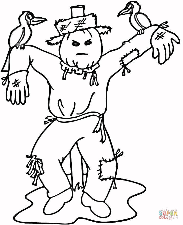 Free scarecrow coloring pages coloring home for Printable scarecrow coloring pages