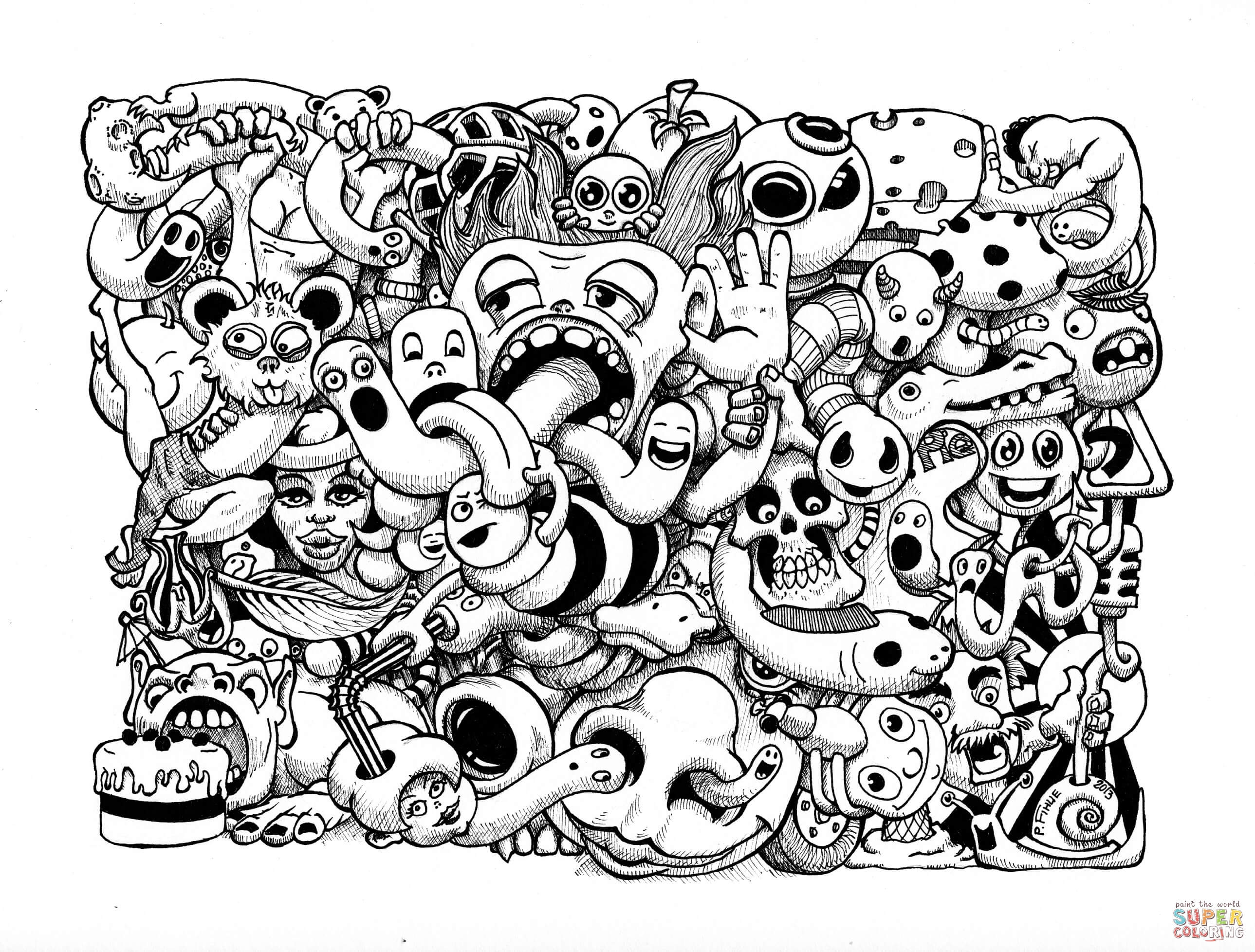 Coloring Pages Art : Doodle art coloring pages free