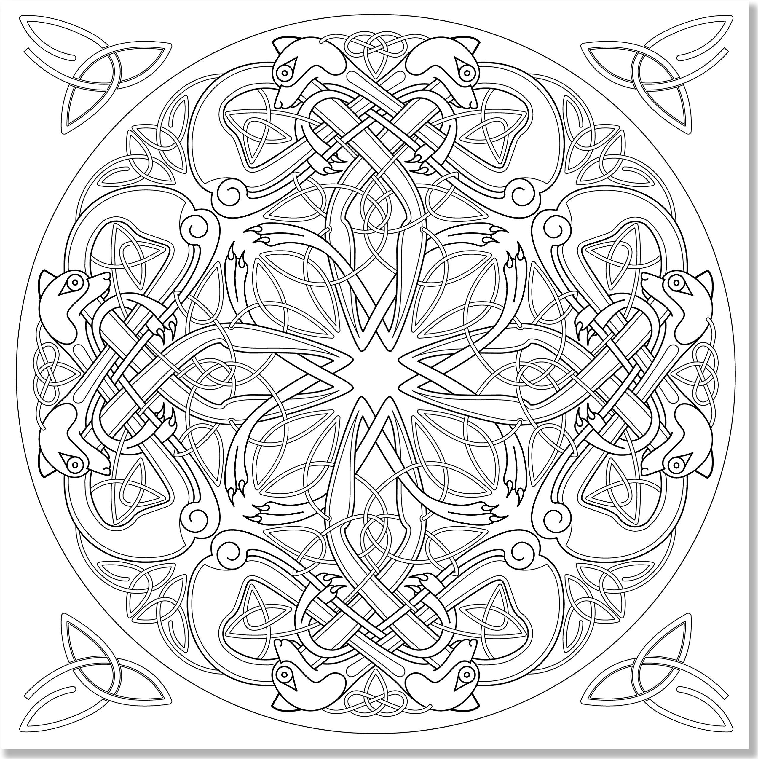 Celtic designs coloring pages coloring home for Celtic knot mandala coloring page