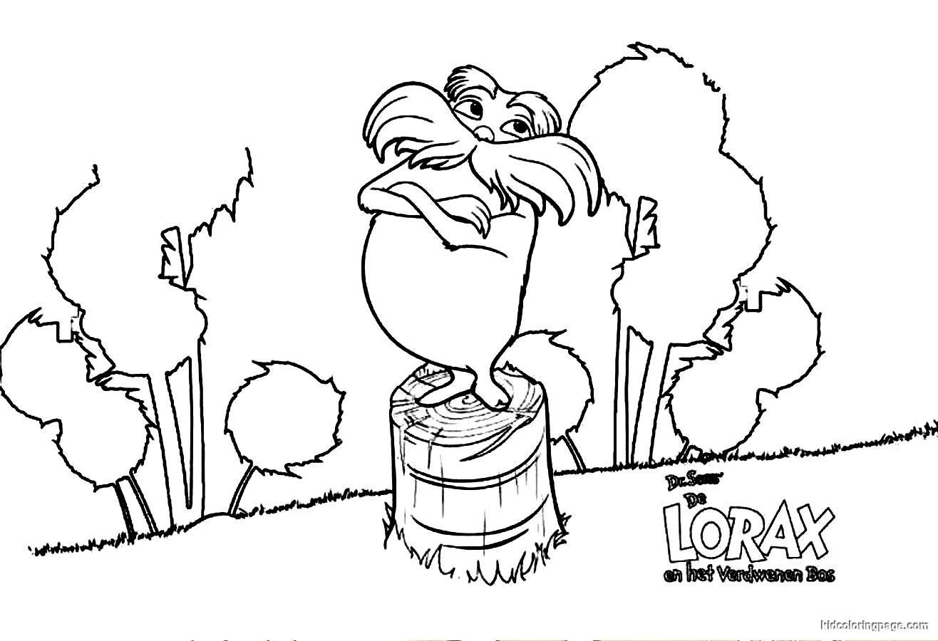 Lorax coloring page coloring home for Truffula tree coloring page