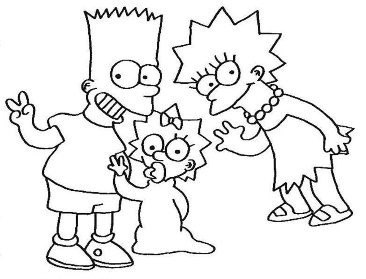 simpsons coloring pages to print out - coloring home - Printable Simpsons Coloring Pages