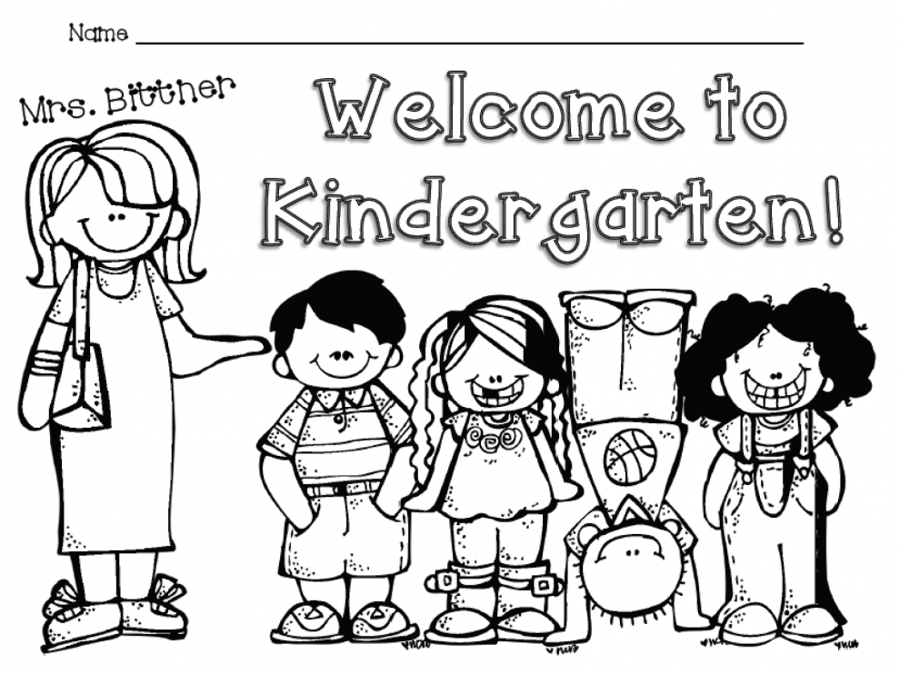 welcome back to school coloring page kindergarten