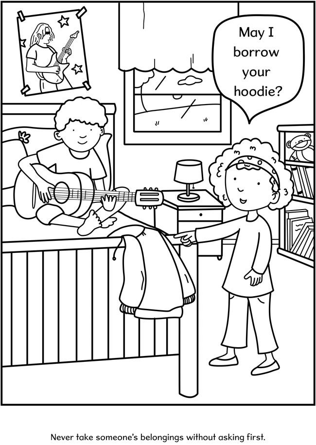 preschool good manners coloring pages - photo#24
