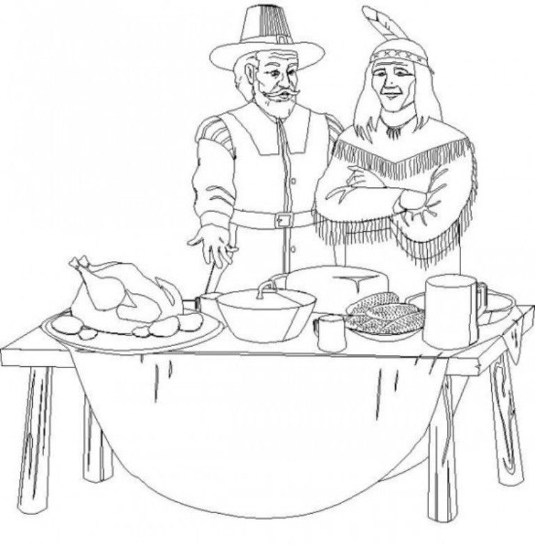 pilgrim and indian coloring pages | Pilgrim And Indian Thanksgiving Coloring Pages Children ...
