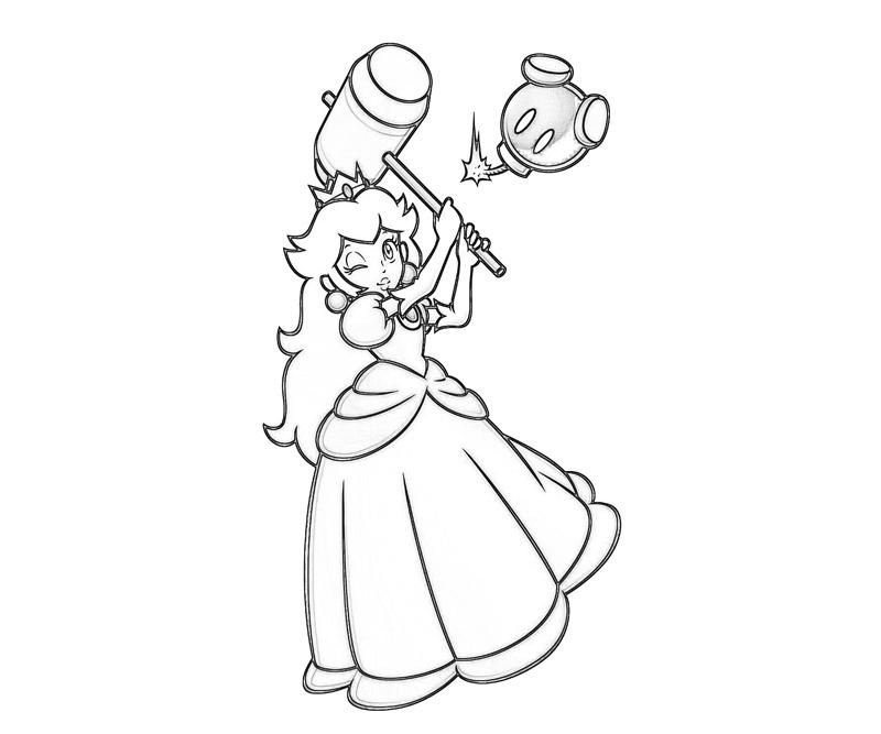 12 Pics Of Super Mario Princess Peach Coloring Pages Mario