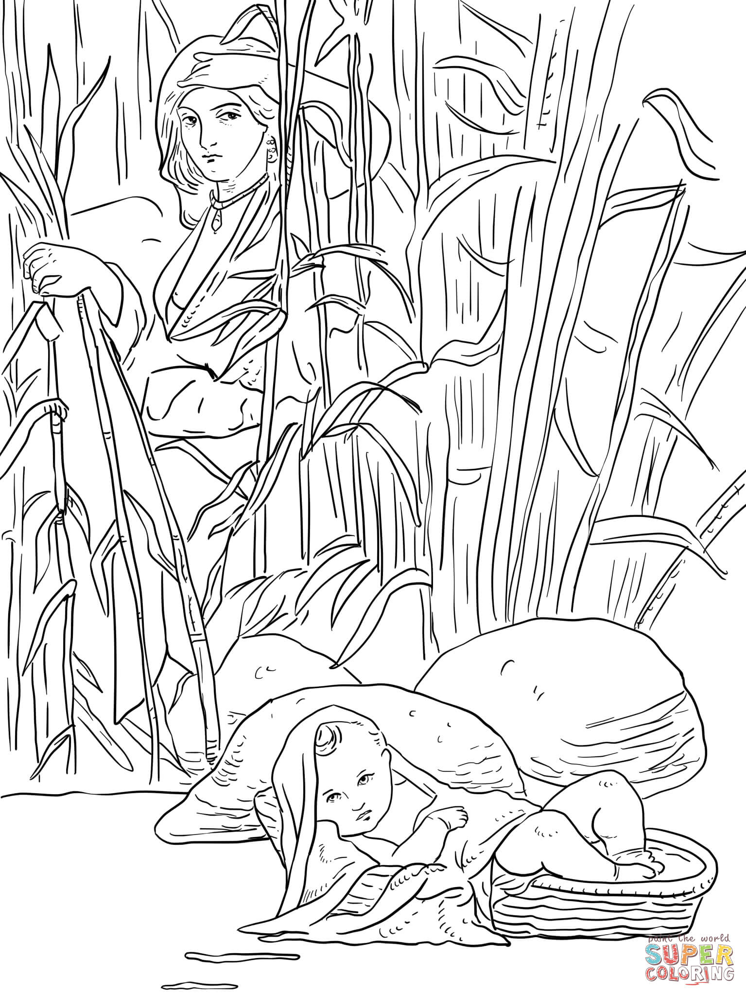 Baby Moses Coloring Page Coloring