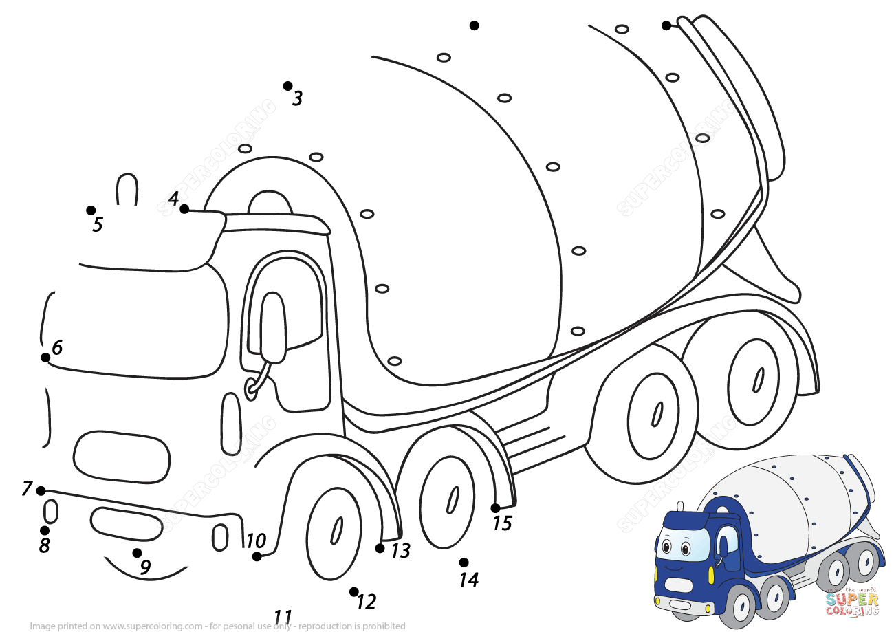 Cartoon Cement Mixer 1 15 Dot To