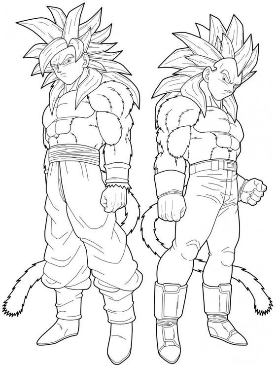 Dragon Ball Z Super Saiyan 4 - Coloring Pages for Kids and for Adults