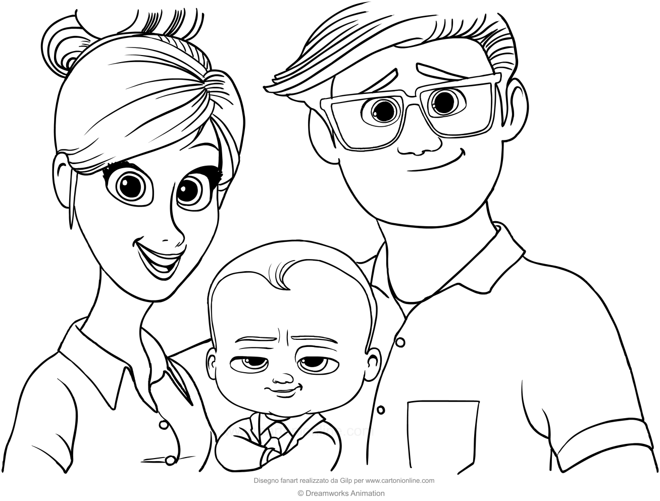 Boss Baby with his parents coloring page