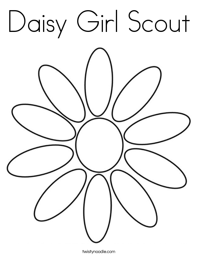 Daisy Girl Scout Coloring Page - Twisty Noodle