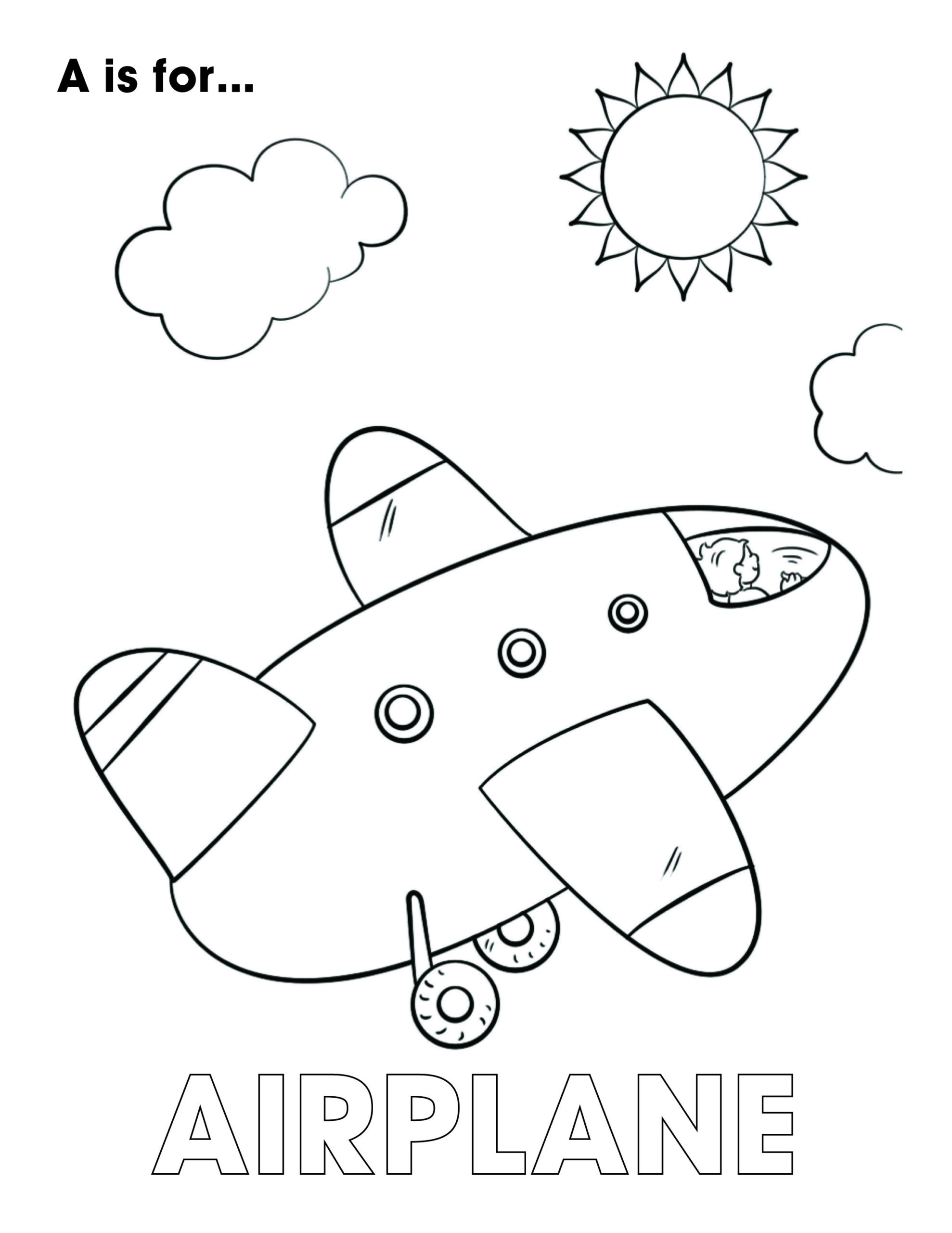 Coloring Pages : Letter Of The Week Coloring Airplane Excavator ...