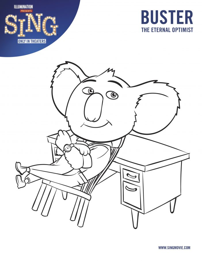 Buster - Sing Movie Coloring Page