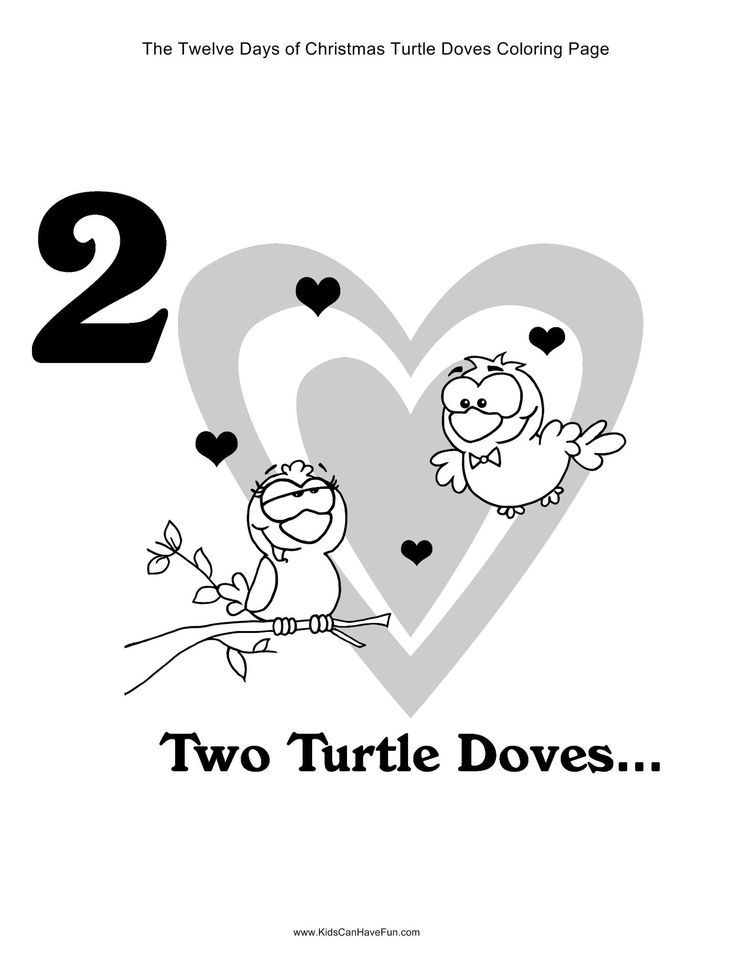 Turtle doves coloring pages coloring home for 12 days of christmas coloring page