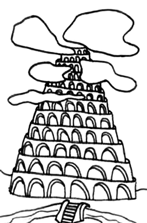 Tower of Babel Drawing Coloring Page: Tower of Babel Drawing ...