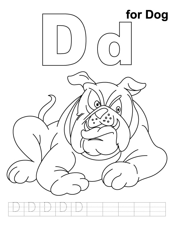 D for dog coloring page with handwriting practice | Download Free D for dog  coloring page with handwriting practice for kids | Best Coloring Pages