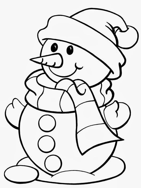 Cute Snowman - Christmas Printable Coloring Page