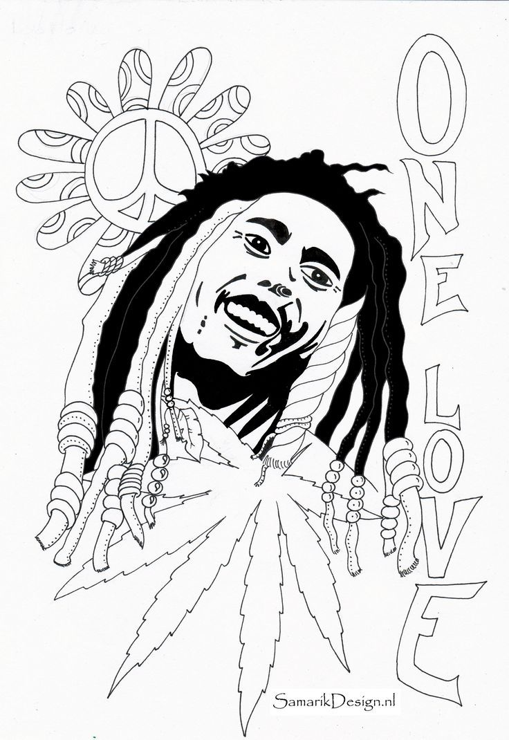 Bob marley coloring page coloring home for Rasta coloring pages