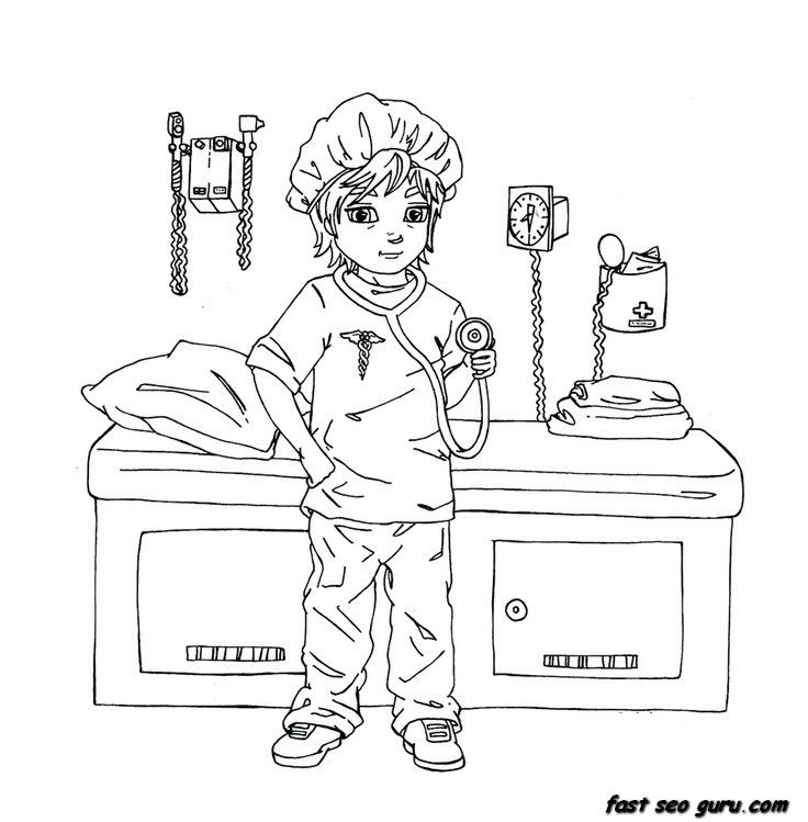 kid doctor coloring pages - photo#27