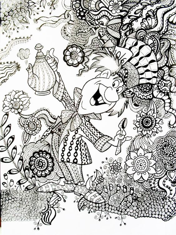 mad hatter coloring pages - alice in wonderland coloring book coloring home